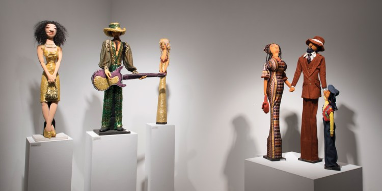 Soft sculptures on view in the exhibition 'Faith Ringgold: The 70s,' 2018, at ACA Galleries, New York.