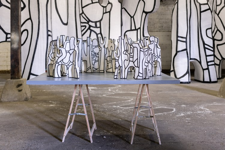 In progress view of Jean Dubuffet's <em>Le Cirque</em>, 1970, polyurethane paint on epoxy, with original maquette in foreground
