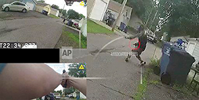 Three images from a body cam show a man running from the police down a residential street