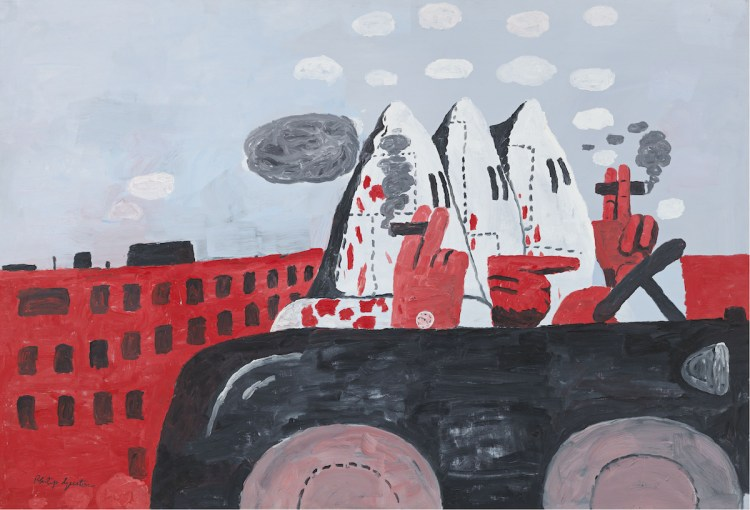 Philip Guston, 'Riding Around', 1969. Three hooded figures smoke cigarettes in a jalopy moving through a city.