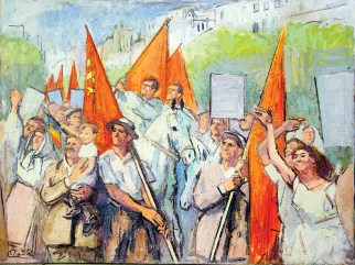 A painting depicts a joyful procession of people in pale pastel clothes holding red communist banners
