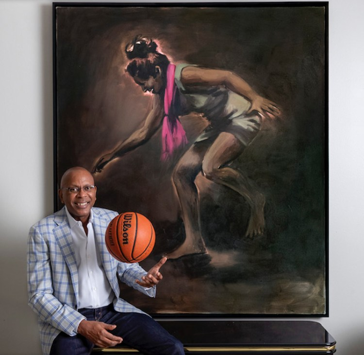 Darrell Walker with a work by Lynette Yiadom-Boakye.