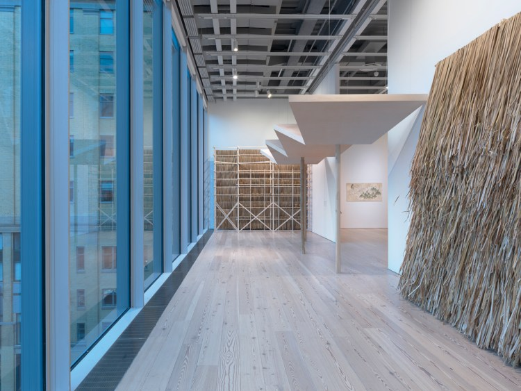 View of the exhibition 'Pacha, Llaqta, Wasichay: Indigenous Space, Modern Architecture, New Art,' 2018, at the Whitney Museum of American Art.