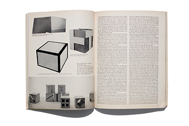 A magazine spread with images of minimalist art