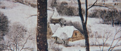 A close-up of a painting showing a European house covered in snow, seen through some bare trees.