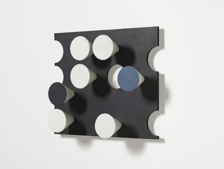 Sophie Taeuber-Arp, 'Relief rectangulaire, cercles découpés, cônes surgissants', 1936.