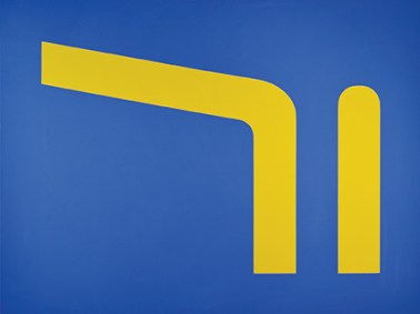 An abstract painting of two yellow shapes (a line bending sharply to the left and a second line with a rounded top) on a blue field