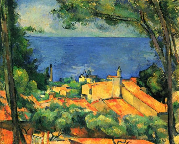 Paul Cézanne, 'L'Estaque with Red Roofs,' 1885, oil on canvas.