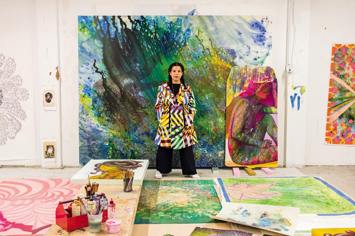 Firelei Báez in her Bronx studio,