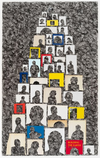 A collage of author photos with the faces cut out are assembled in a column over black and gray swirls