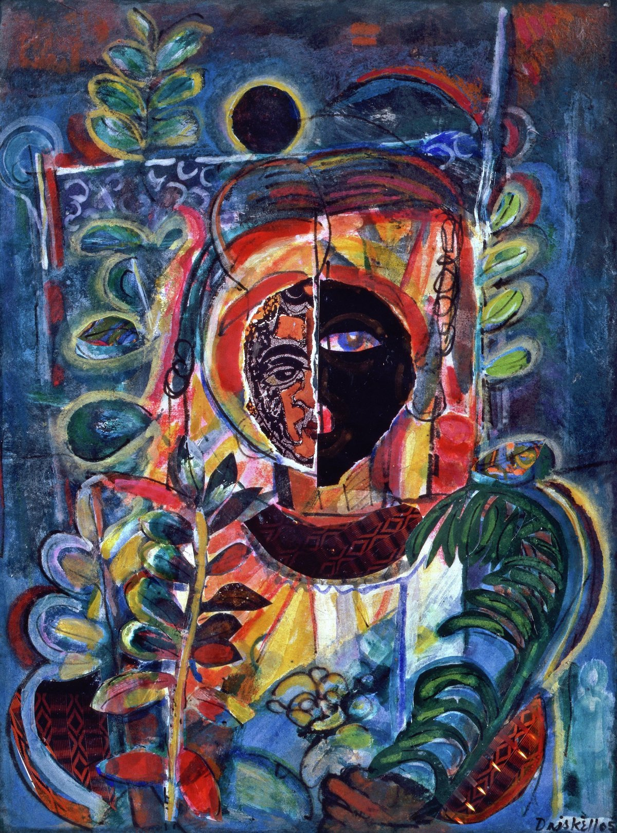 David C. Driskell, 'Night Vision (for Jacob Lawrence)', 2007. A figure with a split face sits in an abstracted throne.