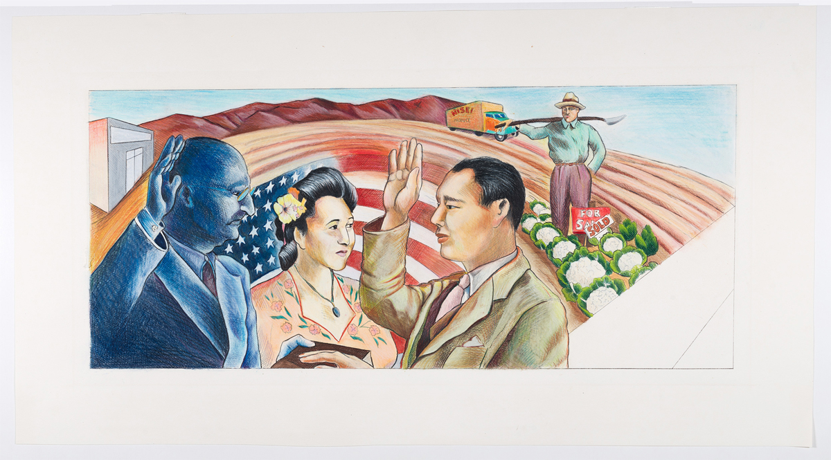 Judith F. Baca, The Great Wall of Los Angeles 1950: Asians Gain Citizenship and Property: First Korean to Be Granted American Citizenship, 1983.