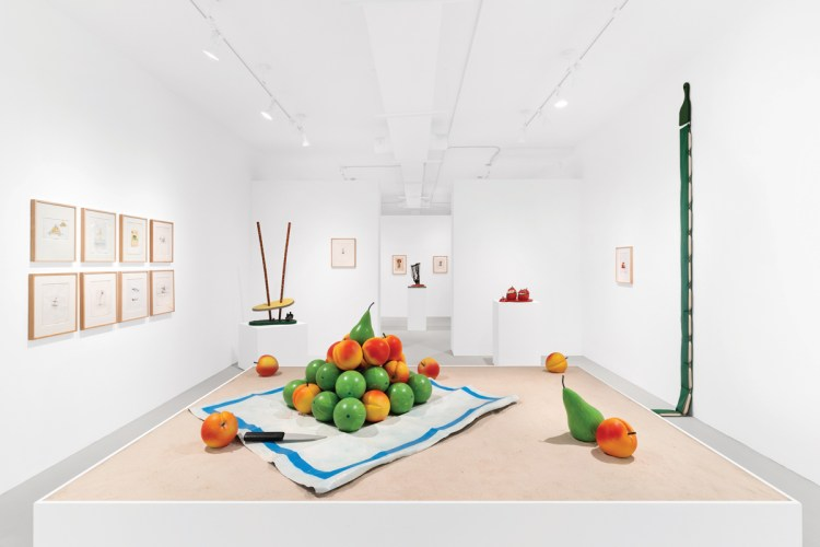 At right below, artwork by Claes Oldenburg and Coosje van Bruggen at Paula Cooper Gallery's Palm Beach outpost.