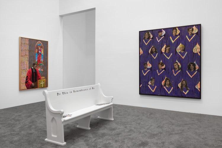 Installation view of Derek Fordjour: SELF MUST DIE, 2020, at Petzel, New York.