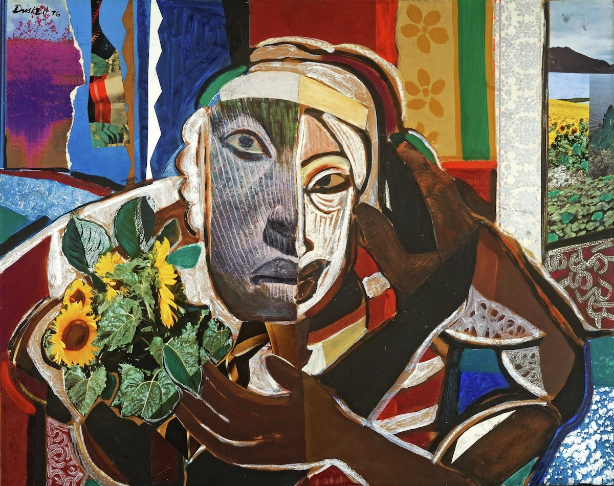 David C. Driskell, 'Homage to Romare', 1976. A Black figure is shown next to a group of sunflowers with its arms crossed.