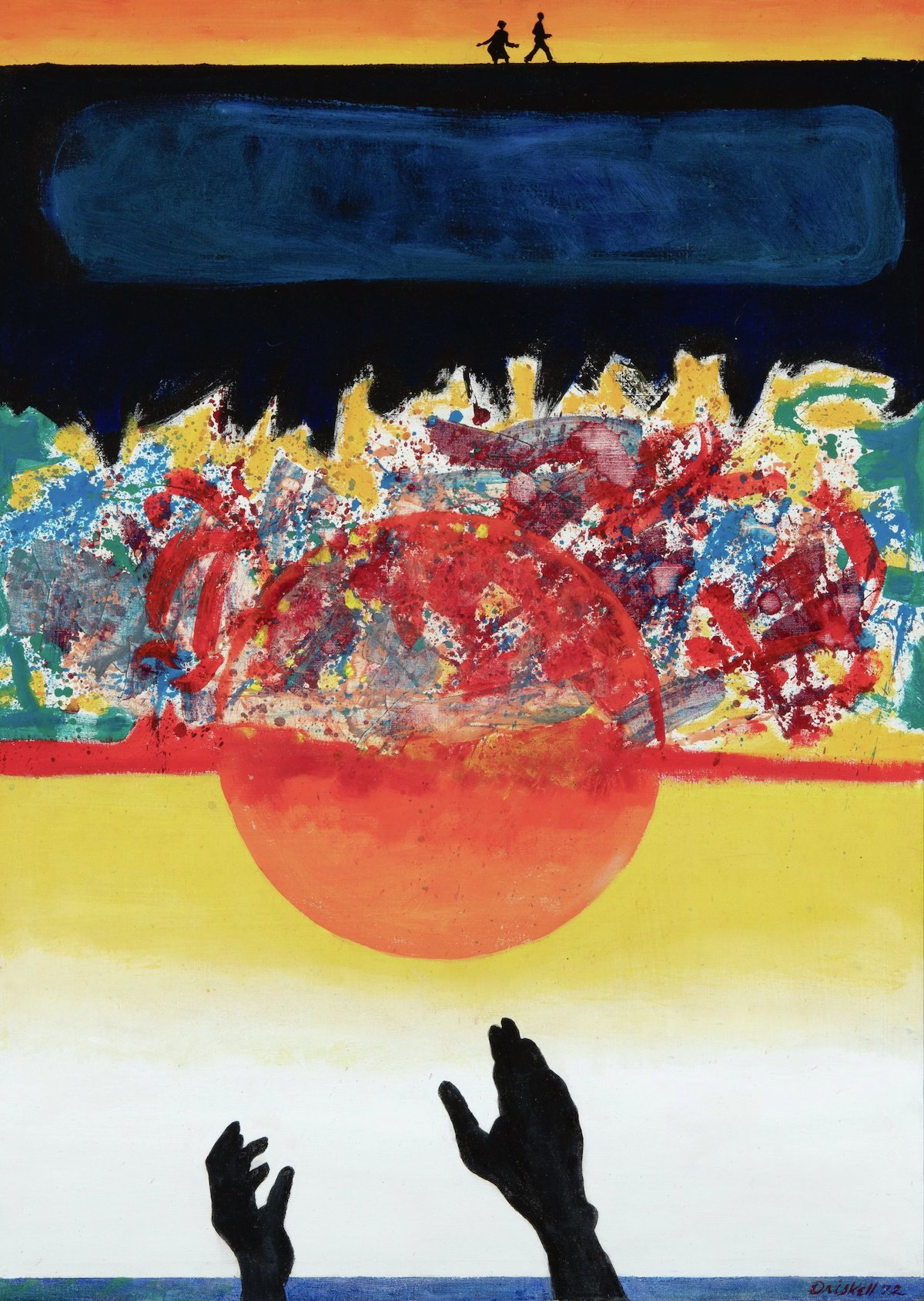 David C. Driskell, 'Swing Low, Sweet Chariot,' 1972. Two small figures walk atop a black and blue ground, which hangs over a mass of abstract forms. Superimposed over this is a sun with hands reaching toward it.