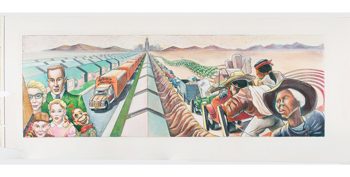 Judith F. Baca, The Great Wall of Los Angeles 1950: The Development of Suburbia, 1983.
