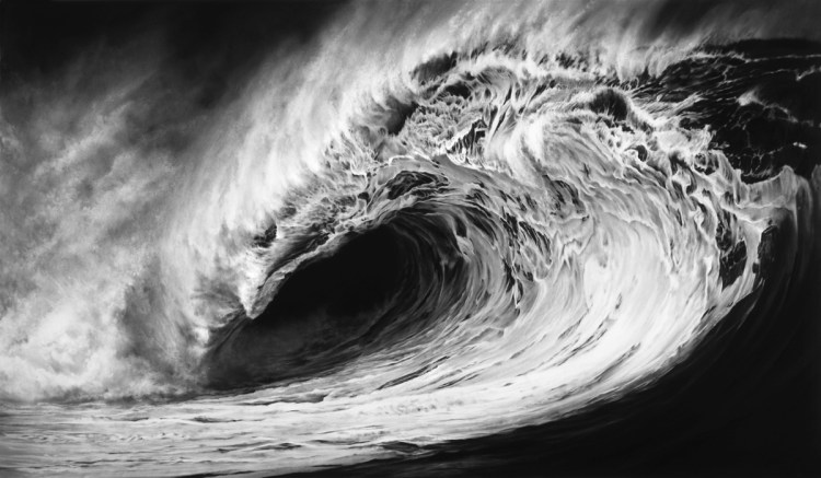 Photorealistic charcoal drawing of a giant wave