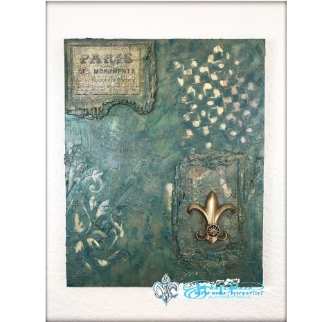 """La Fleur de Paris"" full size image of abstract mixed media fusion piece of artwork created by John Creighton Petersen."