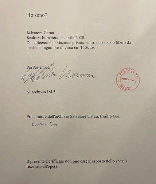 """Certificado de garantía, firmado y sellado por Salvatore Garau de la obra """"io sono"""""""