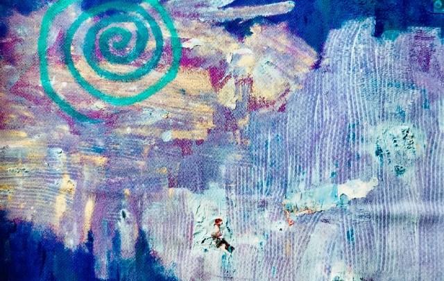 """pintura """"Dime si el aire lo dice"""", técnica mixta, obra de Máxima Romero"""