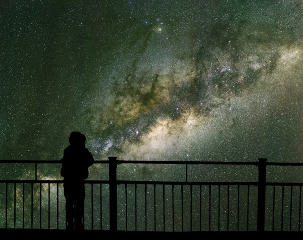 Child looking at stars.