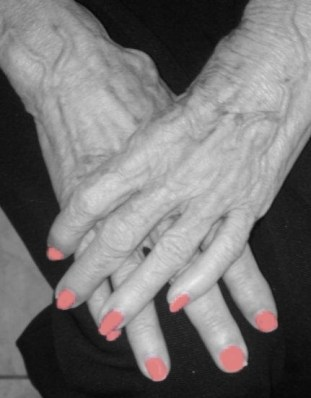 Hands, old hands, pink polish