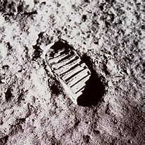 Man on the moon, foot print of man on the moon