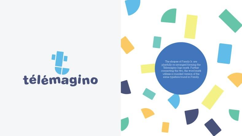 Telemagino logo design by Roger. Channel branding of Family Jr. by Roger.tv