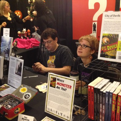 """Justin Robinson's booth and his new book """"City of Devils""""!"""