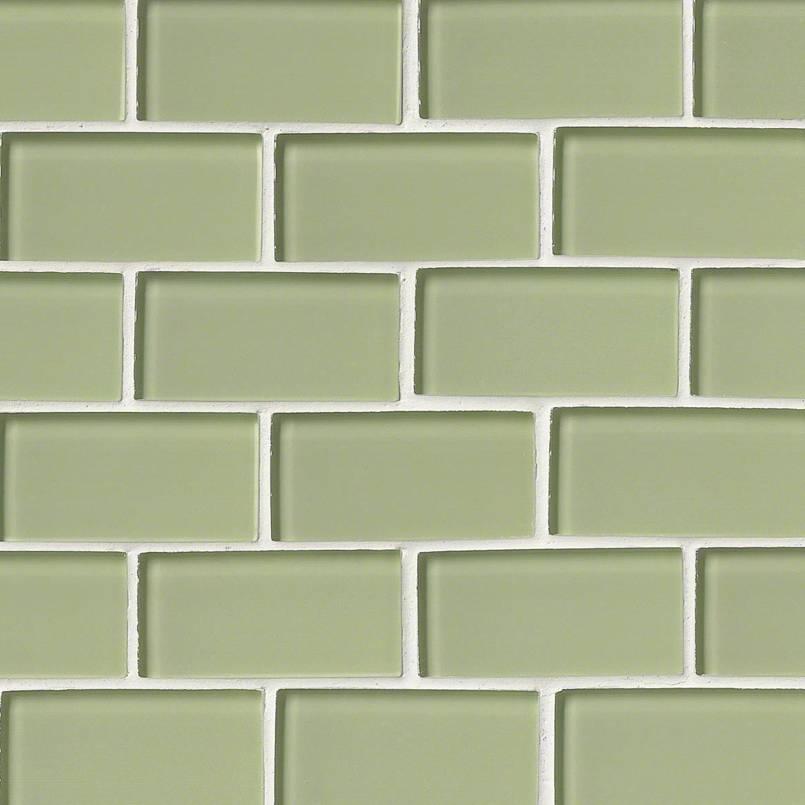 mint green glass subway backsplash tile