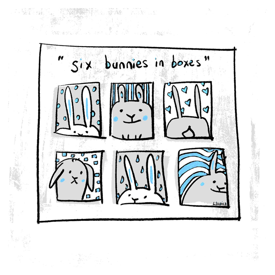 Six Bunnies in Boxes Blue