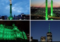 Landmarks around the world light up green in protest over Donald Trump pulling out of Paris accord (June 2016)