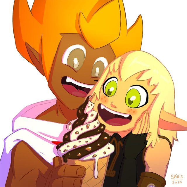 Couple Pinpin et Eva dans Wakfu mangeant une glace