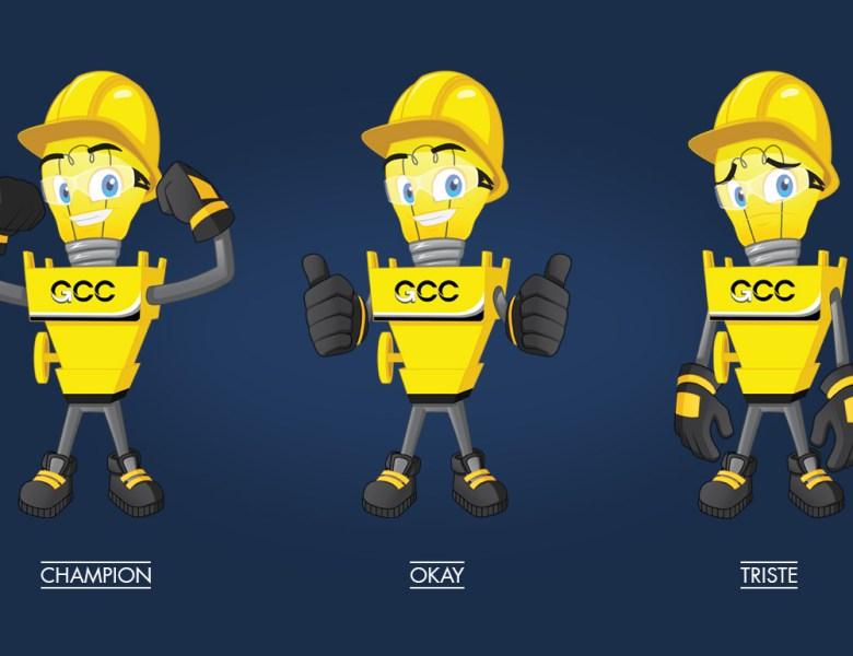Illustration de la mascotte prévention et sécurité pour le groupe GCC