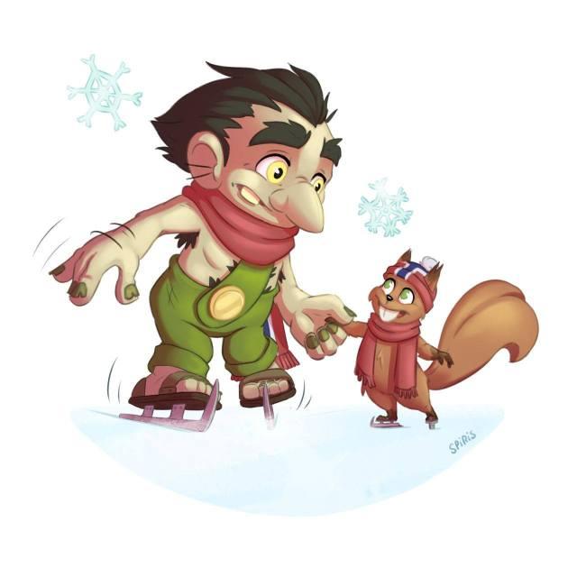 Illustration cartoon d'un troll aux sports d'hiver en train de faire du patin à glace avec son ami l'écureuil.