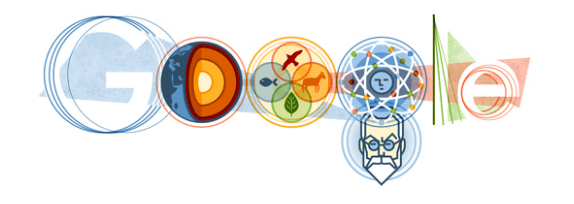 Russian Google Doodle for Vladimir Vernadsky's 150th year anniversary, 2013.