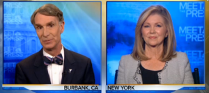 Figure 1.  By using split screen imagery the media presents the illusion that climate change is a debatable issue between Bill Nye, the Science Guy, and Marsha Blackburn, the Tennessee Rep.