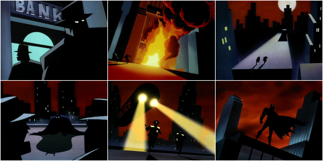 """A series of six screenshots from the opening title sequence of Batman: The Animated Series. First, two men in heavy silhouette stand in front of a building labeled """"Bank"""". Second, the bank explodes in bright yellow, orange, and red fire. Third, two figures in shadow run along a distended rectangular rooftop that is illuminated by a white moon against a red sky. Fourth, Batman lands, cloaked in shadow, with his cape pooling around him. Fifth, two police officers run towards the camera, illuminated by the headlights on a police blimp. Sixth, Batman stands on the top of a building in silhouette, with skyscrapers and a dark red sky behind him."""