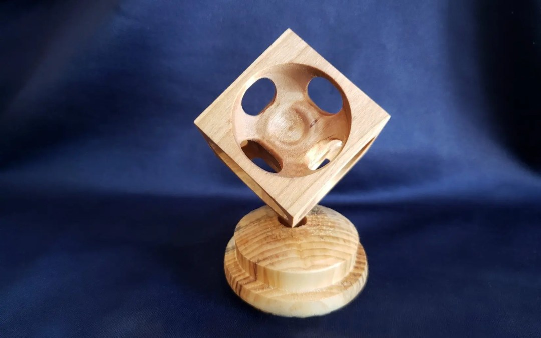 Wood Turned Cube Ornament