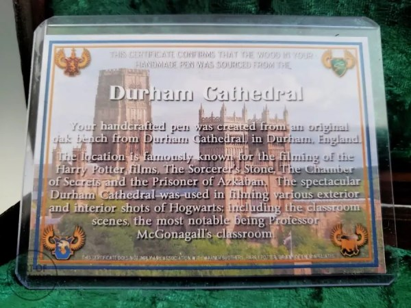 Durham Cathedral wood Certificate of Authenticity