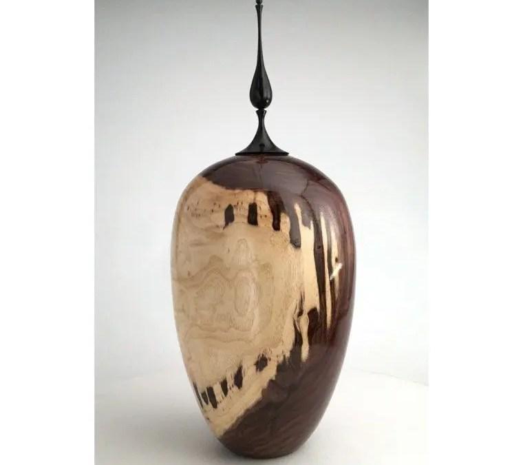 Black Walnut Vase with Cherry Finial