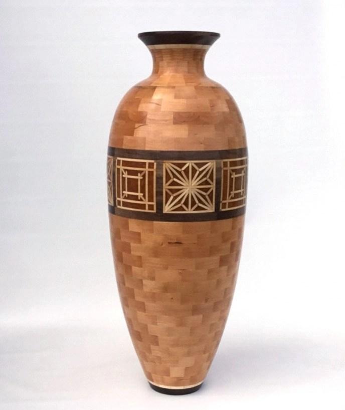 Kumiko style segmented vase