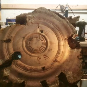 Redwood burl wall art in process wood turning