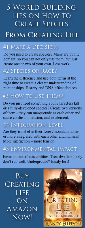 #authors can learn how to create #species in #fantasy and #scifi when #worldbuilding. These 5 tips are extracted from CREATING LIFE (THE ART OF WORLD BUILDING, 1). Read more at www.artofworldbuilding.com