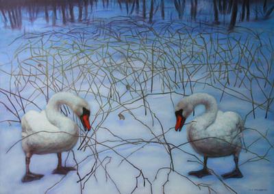 Lys Vosselman Zwanen In Sneeuwlandschap Schilderijen