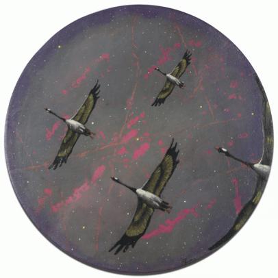 [Clin d'art #164] «Passage nocturne». 2015. François Perras. Acrylique sur toile. 61 x 61 cm. 15 $ par mois pour un particulier (taxes incluses). © L'Artothèque. Tous droits réservés.