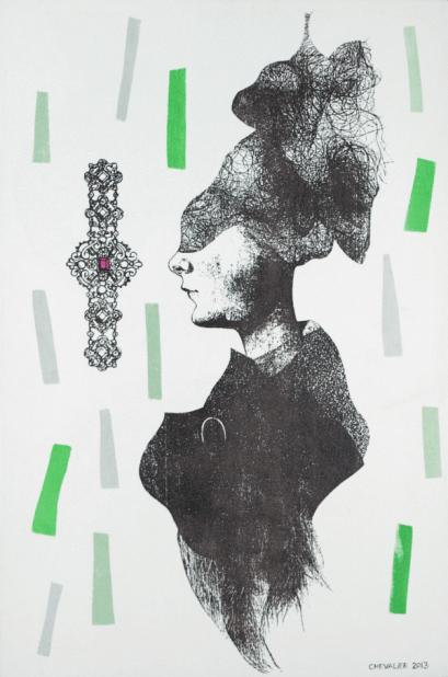 [Clin d'art #169] «Béatrice». 2013. Marianne Chevalier. Sérigraphie et collage sur bois. 50.8 x 76.2 cm 15 $ par mois pour un particulier (taxes incluses). © L'Artothèque. Tous droits réservés.
