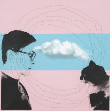 [Clin d'art #172] «Brigitte et Dolorès». 2014. Béalou. Techniques mixtes, acrylique et collage sur toile. 59 x 59 cm 15 $ par mois pour un particulier (taxes incluses). © L'Artothèque. Tous droits réservés.