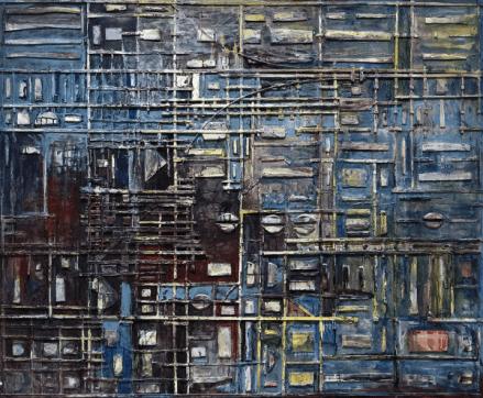 [Clin d'art #182] «Fenêtre 2ième vue». 2008. Yves Paré Acrylique, collage de bois sur toile. 152,54 x 183 cm 40 $ par mois pour un particulier (taxes incluses). © L'Artothèque. Tous droits réservés.